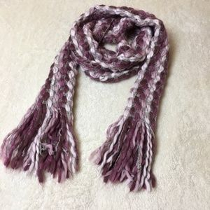 Purple Knit Woven Winter Scarf with Fringe